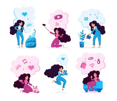 Modern Woman Activities Types Trendy Flat Vector Characters Set. Young Lady Playing with Cat, Streaming Mobile Video Online, Watering Plants, Celebrating Holiday, Shopping Online Isolated Illustration