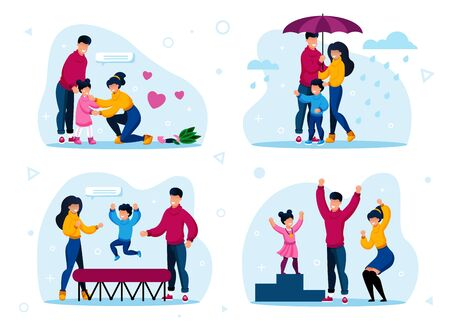 Happy Family Routines and Activities Trendy Flat Vector Concepts Set. Parents Calming Down Crying Daughter, Walking Under Umbrella in Rain, Jumping on Trampoline, Celebrating Kids Victory Illustration