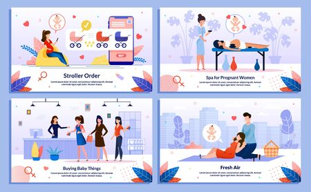 Pregnant Woman Activity on Fresh Air, Healthy Lifestyle, Shopping for Baby, Outdoor Leisure Trendy Flat Vector Banner, Poster Set. Lady Relaxing in Spa, Buying Baby Pram, Going on Picnic Illustration