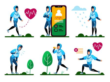 Fitness Training, Outdoor Physical Activities, Active Life Routines Trendy Flat Vector Isolated Concepts Set. Young Man in Tracksuit Doing Exercises, Planning Workout with Cellphone Illustrations