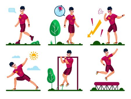 Outdoor Activities and Workouts Types for Healthy Life Trendy Flat Vector Concepts. Man in Sportswear Roller-Skating, Walking, Stretching, Pulling Up on Crossbar, Jumping on Trampoline Illustrations