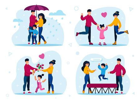 Family Recreation Activities Trendy Flat Vector Concepts Set. Parents with Children Walking Outside in Rain, Riding Roller-Skates, Spending Time Together, Jumping on Trampoline Isolated Illustrations Illustration