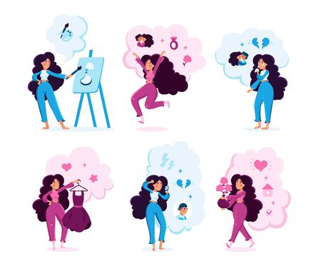 Young Woman Lifestyle Trendy Flat Vector Character Set. Lady Practicing Art Therapy, Celebrating Engagement, Crying Because Relationships Break, Choosing Dress, Calling Boyfriend Isolated Illustration