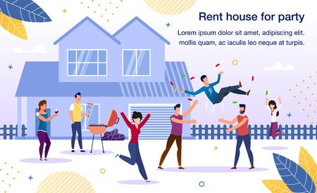 Rental House for Party Trendy Flat Vector Advertising Banner, Promo Poster Template. Happy People, Group of Friends Cooking Barbeque on House Backyard, Celebrating Birthday or Holiday Illustration