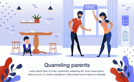 Quarreling Parents, Family Relationships Problems Trendy Flat Vector Banner, Poster Template. Annoyed Father and Mother Arguing at Home Kitchen, Scared and Worried Boy Hiding Under Table Illustration