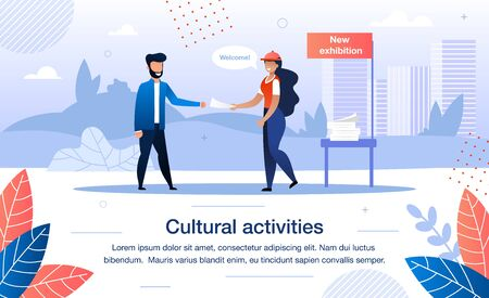 Volunteering on Cultural Activities Trendy Flat Vector Banner, Poster Template. Female Volunteer, Museum Worker Promoting New Exhibition with Flyers, Giving Leaflets to Man or Tourist Illustration