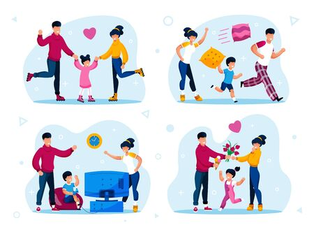Modern Family Happy Life and Daily Activities Trendy Flat Vector Concepts Set. Parents with Children Riding Roller-Skates, Buying Ice-Cream and Flowers for Loved Ones, Playing Video Games Illustration Çizim