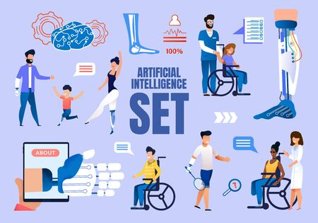 Artificial Intelligence in Medicine Trendy Flat Vector Concepts Set. Injured Female, Male People, Handicapped Adults and Children with Limbs Amputations Using Modern Robotized Prosthesis Illustrations