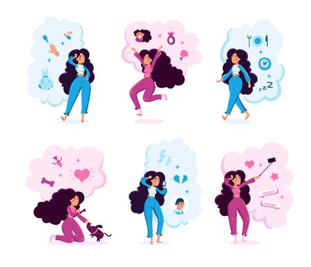 Modern Woman Life Situations Trendy Flat Vector Characters Set. Young Lady Shooting Selfie, Playing with Pet, Arguing with Boyfriend, Celebrating Engagement, Choosing Makeup Isolated Illustration