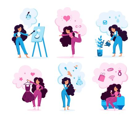 Modern Woman Lifestyle Scenes Trendy Flat Vector Characters Set. Young Lady Shopping Online, Drawing Paintings, Watering Plants, Stretching on Fitness Training, Doing Makeup Isolated Illustration