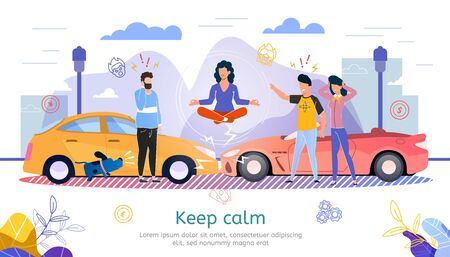 Car Insurance Company, Lawyer Counseling, Road Emergency Service Trendy Flat Vector Advertising Banner, Promo Poster. Woman Keep Calmness When Got Into Car Accident, Collision on Road Illustration