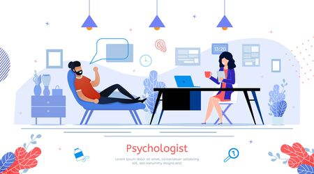 Psychologist Practice, Psychological Help and Counseling Service Trendy Flat Vector Banner, Poster. Man Visiting Therapist, Talking with Doctor While Lying in Sofa During Appointment Illustration