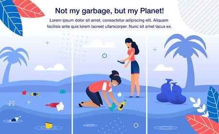 salvar el planeta de la basura y los residuos plásticos banner de moda vector plano, plantilla de cartel. equipo de mujeres voluntarias, mujeres recogiendo basura en la playa, limpiando la costa tropical de la ilustración de la contaminación