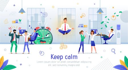 Keeping Calm and Clear Mindset in Office Work Mess Trendy Flat Vector Banner, Poster Template. Businessman, Company Employee or Worker Sitting in Lotus Pose in Noisy Office Surrounding Illustration