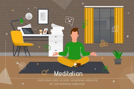 Meditation Practice on Workplace Trendy Flat Vector Banner, Poster Template. Male Entrepreneur, Employee or Office Worker Sitting in Lotus Pose on Floor, Meditating, Practicing Yoga Illustration Stock Illustratie