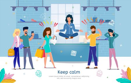 Professional Equanimity and Calmness in Stressful Work Trendy Flat Vector Banner, Poster Template. Store Female Salesperson, Shop Seller Keeping Calm in Communication with Angry, Clients Illustration