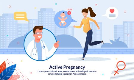 Active Pregnancy And Healthy Lifestyle Trendy Flat Vector Banner, Poster Template. Doctor Counseling Pregnant Woman, Lady Walking or Jogging, Doing Exercises, Preparing To Maternity Illustration