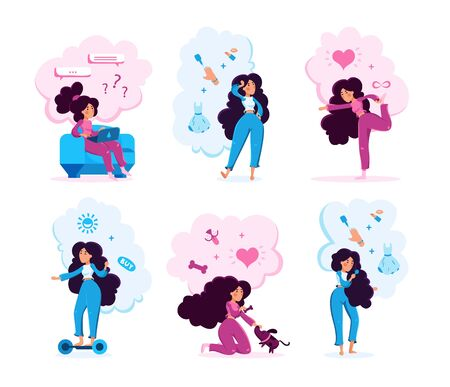 Woman Activities Types Trendy Flat Vector Characters Set. Young Lady Chatting in Social Network, Planning Routines, Doing Exercises, Riding Hoverboard, Feeding Pet, Doing Makeup Isolated Illustration