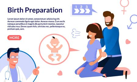 Courses for Future Parents, Doctor Online Counseling Service Trendy Flat Vector Web Banner, Landing Page. Pregnant Woman with Husband Listening Doctors Advices, Doing Breathing Exercises Illustration