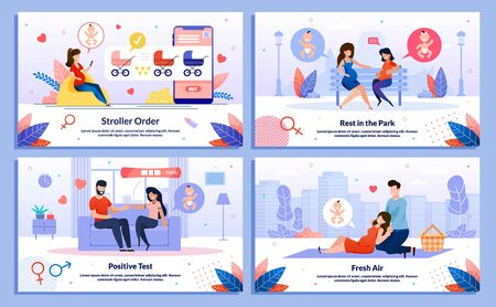 Relationships in Pregnancy, Pregnant Woman Active Life Trendy Flat Vector Banner, Poster Set. Lady Meeting Friend, Telling Husband About Pregnancy, Resting in Park, Shopping Online Illustration