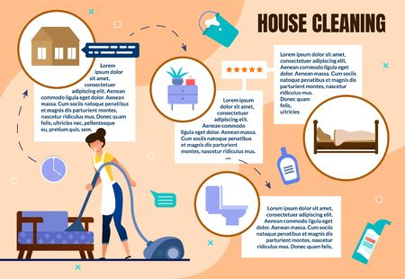 Effective House Cleaning Flat Vector Infographics Scheme, Poster Template with Woman in Apron Vacuuming Floor and Furniture, Cleanup in Apartment Room, Washing Toilet with Detergents Illustration