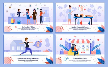 Shopping During Pregnancy, Gymnastics, Spa for Pregnant Trendy Flat Vector Banner, Poster Set. Woman Buying Baby Clothing, Choosing Goods Online, Relaxing in Beauty Salon, Doing Exercises Illustration