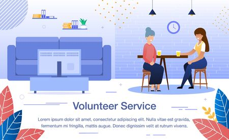 Volunteer, Social Worker Service, Help for Aged Person Trendy Flat Vector Banner, Poster Template. Female Volunteer, Young Lady, Spending Time, Talking with Senior Woman at Home Kitchen Illustration Çizim