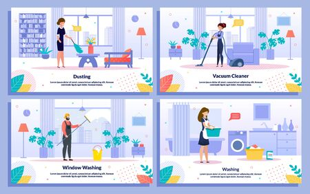 Executive Cleaning Service, Household Jobs Trendy Flat Vector Promo Banner, Poster Templates Set. Female, Male Workers Vacuuming Room Floor, Washing Window with Mop, Dusting and Washing Illustration