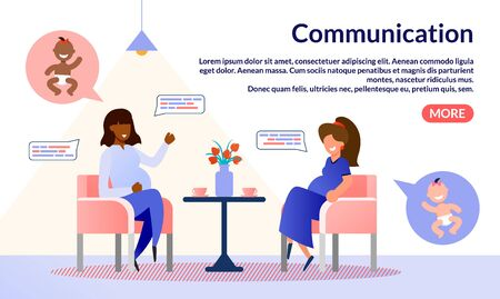 Online Startup or Social Network, Communication Service for Pregnant Trendy Flat Vector Web Banner, Landing Page. Pregnant Women, Friends Gathering Together and Talking in Cafe or Home Illustration Ilustrace