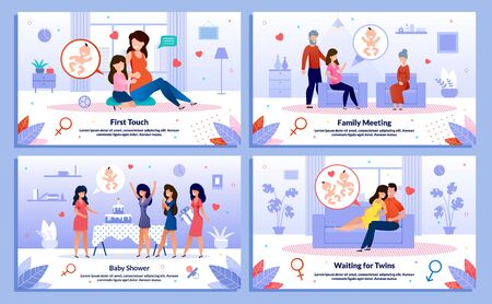 Pregnant Woman Happy Maternity, Family Relationships, Baby Shower Trendy Flat Vector Banner, Poster Set. Lady Talking with Child, Meeting Relatives, Having Fun on Party, Waiting Twins Illustration Reklamní fotografie - 137767072