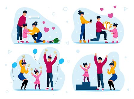 Family Life Happy Moments Trendy Flat Vector Concepts Set. Parents Calming Down Crying Child, Celebrating Holidays Together, Giving Birthday Gift, Proud of Kid Achievement Isolated Illustrations