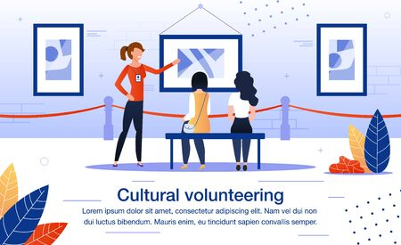 Cultural Volunteering in Art, History Museum Exposition Trendy Flat Vector Banner, Poster Template. Female Volunteer, Guide Showing Tourists Paintings, Telling About Cultural Attractions Illustration
