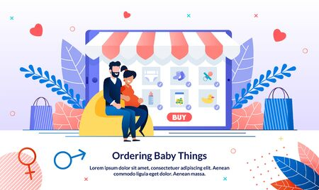 Ordering, Shopping Baby Things During Pregnancy Trendy Flat Vector Banner, Poster Template. Pregnant Woman with Husband Searching Choosing, and Ordering Clothing for Baby in Online Store Illustration