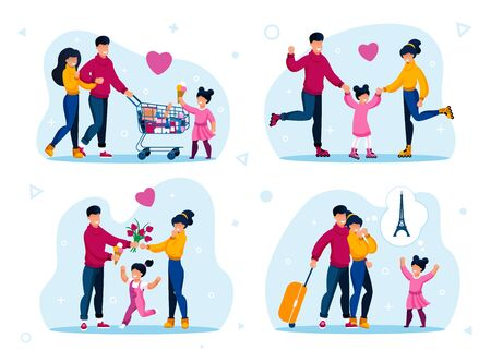 family vacation or holiday leisure trendy flat vector concepts set. parents with children shopping in supermarket, roller-skating, spending time together, traveling in foreign country illustration Illustration