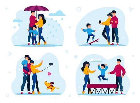 Family Relations and Time Together Trendy Flat Vector Concepts Set. Parents with Children Walking Under Umbrella in Rain, Making Memorable Selfie Photos, Jumping on Trampoline Isolated Illustrations