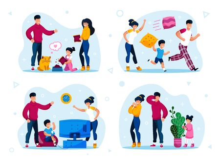 Family Home Activities and Leisure Trendy Flat Vector Concepts Set. Parents with Children Feeding Cat, Running and Fooling Around, Playing Video Games and in Hide-and-Seek Isolated Illustrations