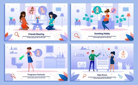 Pregnancy Toxicosis, Pregnant Woman Social Connections, Hobby, Childbirth Waiting Trendy Flat Vector Banner, Poster Set. Lady Meeting Friend, Knitting, Feels Nausea, Decorating Baby Room Illustration Ilustrace