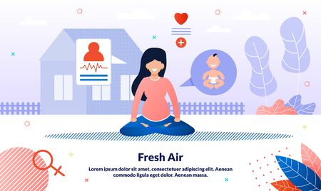 Healthy Lifestyle During Pregnancy Trendy Flat Vector Banner, Poster Template. Pregnant Woman Mediating in Lotus Pose, Lady Practicing Yoga, Future Mother Doing Physical Exercises Outdoor Illustration