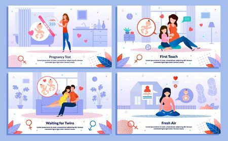 Pregnancy Test Positive Result, Pregnant Woman Family Relationships, Activity on Fresh Air Trendy Flat Vector Banner, Poster Set. Lady Talking with Child, Meditating, Resting at Home Illustration