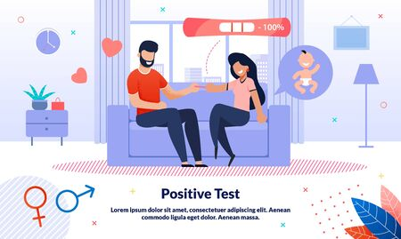 Positive Pregnancy Test, Baby Birth Happy Waiting, Maternity Planning Trendy Flat Vector Banner, Poster. Pregnant Woman Telling Husband About Pregnancy, Couple Preparing to Became Parents Illustration Illusztráció