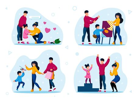 Family Life Daily Routines and Activities Types Trendy Flat Vector Set. Parents Calming Down Crying Daughter, Visiting Drawing Lessons, Buying Toys, Celebrating Kids Achievement Isolated Illustrations Ilustração