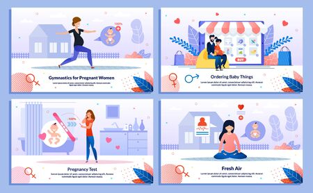 Shopping in Pregnancy, Gymnastics for Pregnant Woman, Happy Maternity Trendy Flat Vector Banner, Poster Set. Lady Doing Exercise Outdoor, Meditating, Shopping Online, Doing Pregnancy Test Illustration Çizim
