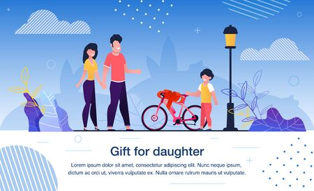 Happy Family Entertainment and Leisure, Child Birthday Celebration Trendy Flat Vector Banner, Poster. Parents Giving Bicycle to Preschooler Daughter, Mather and Mother Making Surprise Illustration Vettoriali