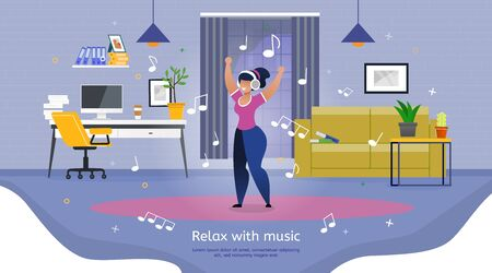 Relaxing and Leisure After Productive Work or Learning Trendy Flat Vector Banner, Poster. Happy Woman, Female Student, Employee in Headphones, Listening Music and Dancing at Workplace Illustration