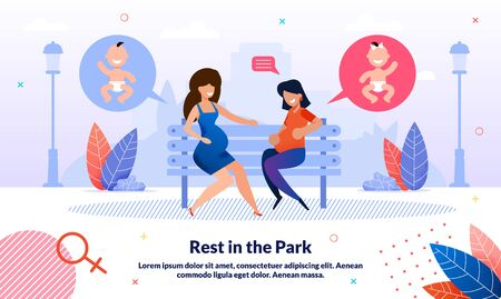 Rest and Recreation During Pregnancy Trendy Flat Vector Banner, Poster. Pregnant Women, Female Friends Meeting Outdoors, Talking and Chatting About Life While Sitting on Bench in Park Illustration