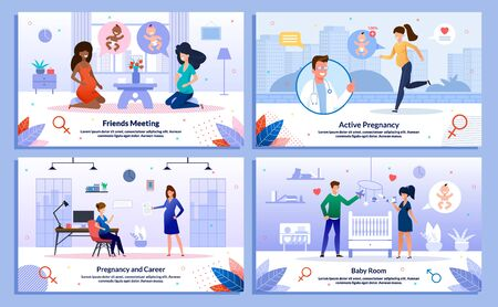 Pregnant Woman Career, Social Connections, Healthy Lifestyle and Worries Trendy Flat Vector Banner, Poster Set. Woman Meeting with Friend, Jogging, Working in Office, Decorating Baby Room Illustration Illusztráció