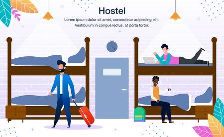 Bleiben Sie im Hostel Dormitory Trendy Flat Vector Werbebanner, Promo-Plakat-Vorlage. Multinationale Reisende, männliche Touristen, die mit Gepäck ankommen und sich auf Hostel-Etagenbetten ausruhen
