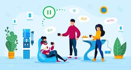 Office Coworkers Communication Trendy Flat Vector Concept. IT Company Employees, Online Startup Team, Female and Male Programmers Doing Pause in Work, Relaxing and Talking on Coffee Break Illustration