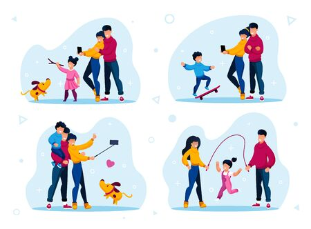 Family Outdoor Recreation and Active Lifestyle Trendy Flat Vector Concepts Set. Parents and Child Playing with Dog, Shooting Memorable and Selfie Photos, Girl Jumping on Rope Isolated Illustrations