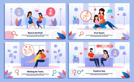 Happy Pregnancy, Pregnant Woman Maternity, Family Relations Trendy Flat Vector Banner, Poster Set. Woman Meeting Friend, Talking with Eldest Kid, Telling Husband About Her Pregnancy Illustration